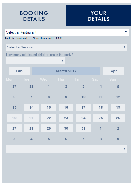 A screenshot of the Loch Fyne online booking system